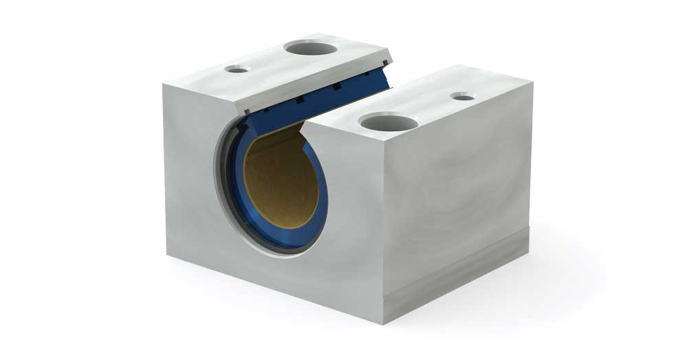 Main view of PMN Metric Open Plain Linear Bearing Pillow Block
