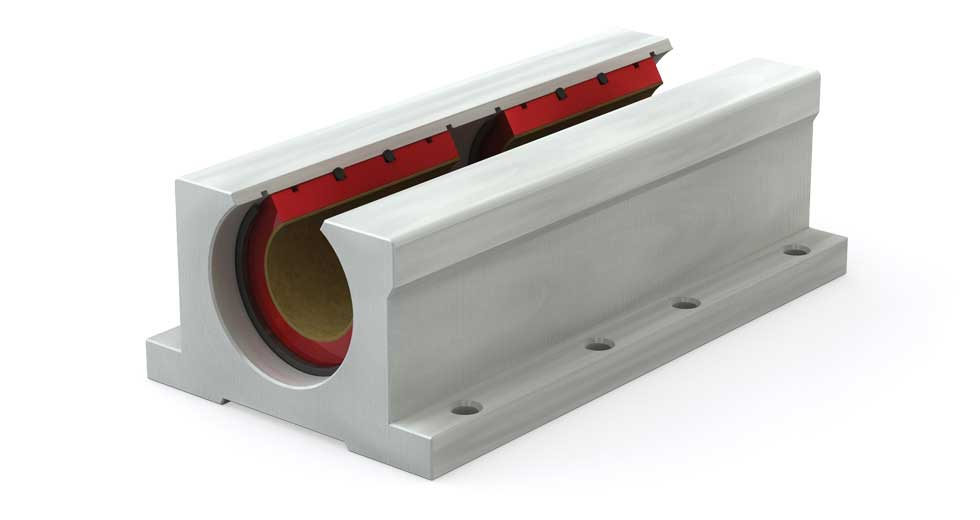 PWN Inch Twin Open Plain Linear Bearing Pillow Block