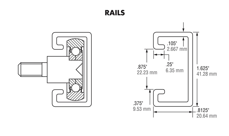 Hardened Crown Rollers - Rails Diagram