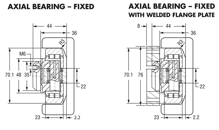 Hevi-Rail 055 - Axial Bearings Fixed