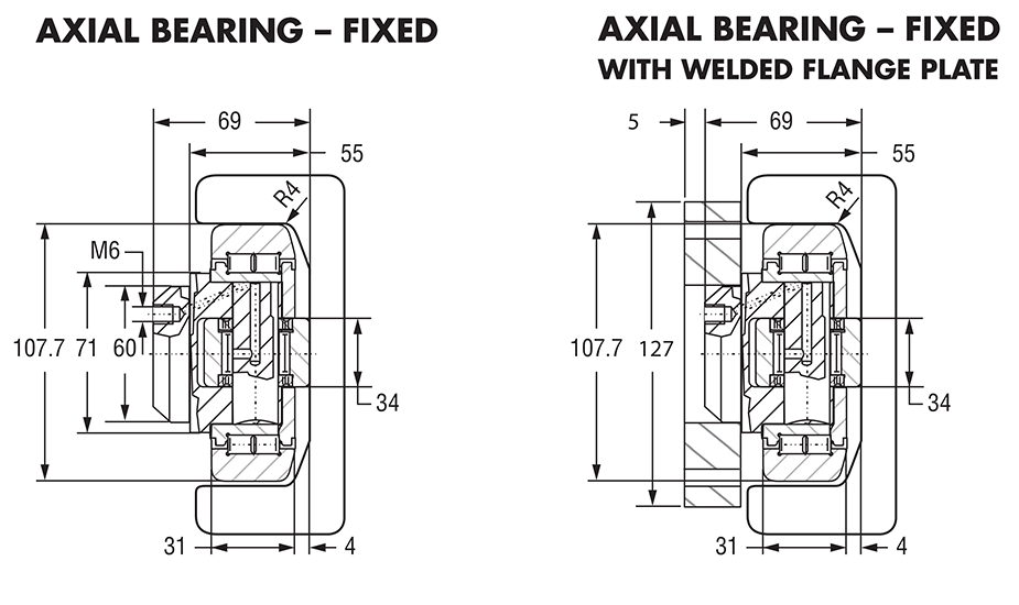Hevi-Rail 061 - Axial Bearings Fixed