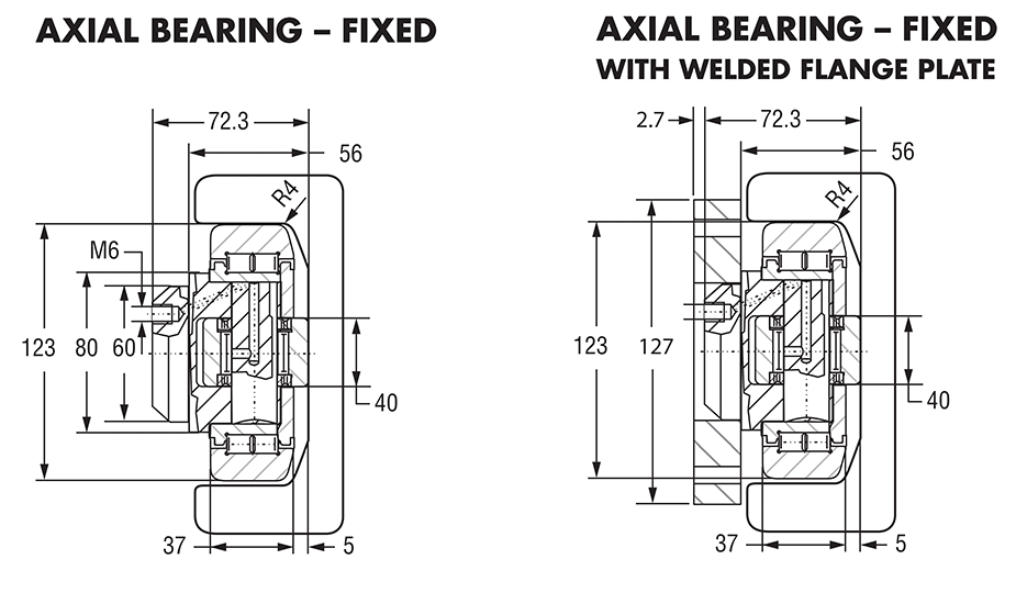 Hevi-Rail 062 - Axial Bearings Fixed