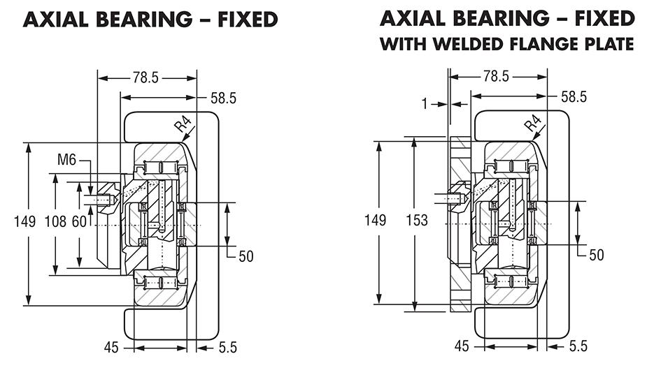 Hevi-Rail Roller Bearings, Combined Radial Thrust Bearings