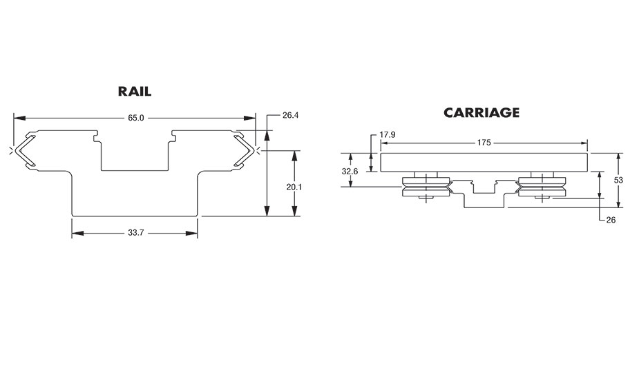 Diagram 1 for IVT AAB Rail and Carriage dimensions