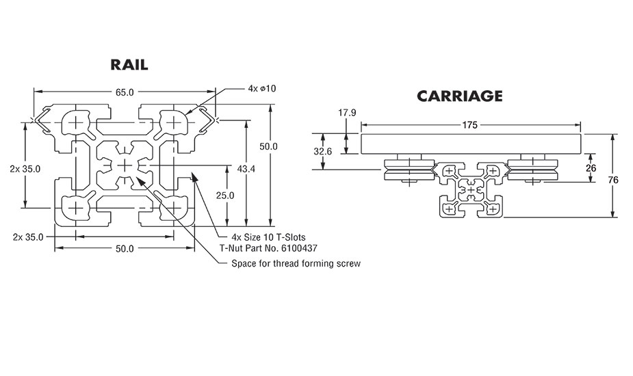 Diagram 1 Dimensions for IVT AAG Rail and Carriage