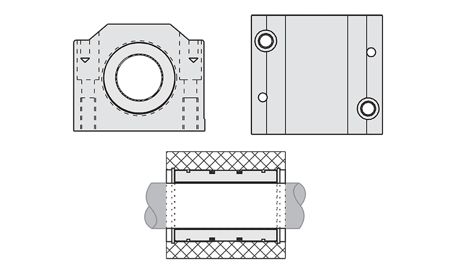 Closed Compensated Plain Linear Pillow Block (Metric) Diagram