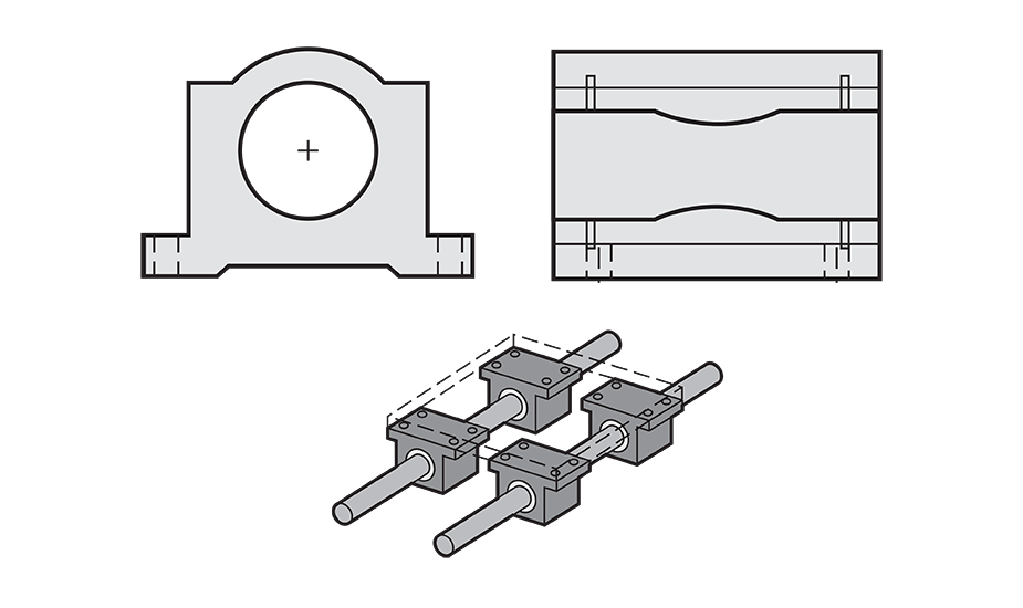 Closed Plain Compensated Linear Pillow Block (Inch) Diagram