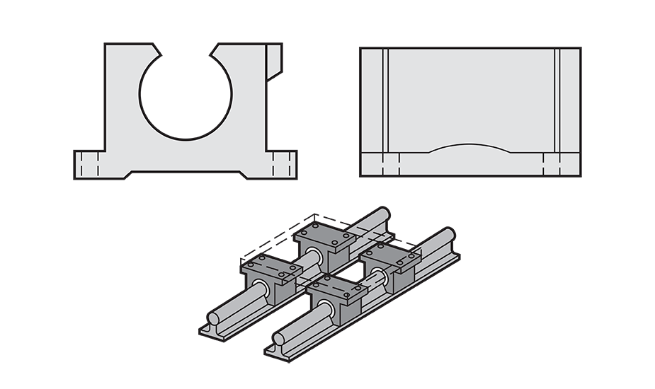 Open compensated Plain Linear Pillow Block (Inch) Diagram