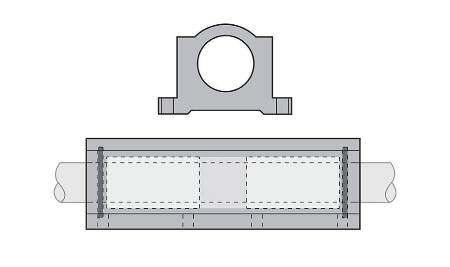 Closed Wide Compensated Plain Linear Pillow Block (Inch) Diagram