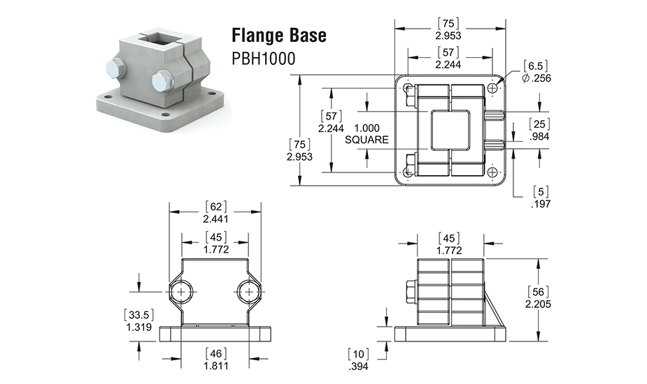 Square Bearing Linear Guide Bearing Flange Base SB16