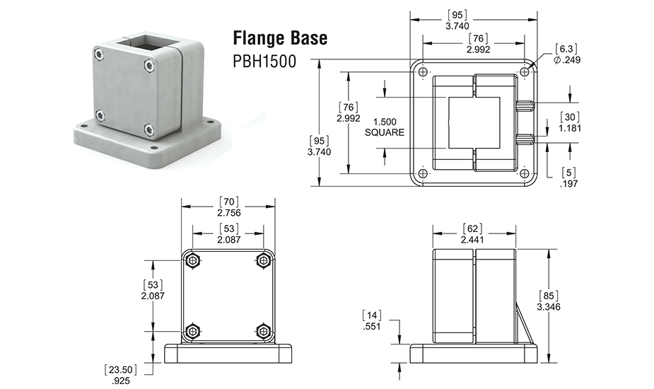 Square Bearing Linear Guide Bearing Flange Base SBL24