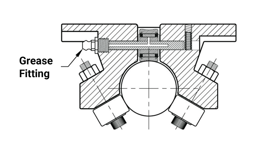 Single Roller Pillow Block (Metric)  – Grease Fitting Option Diagram