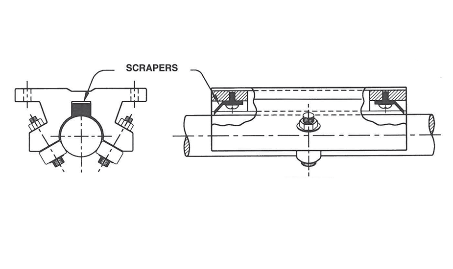 Twin Roller Pillow Block (Inch)  – Scraper Option Diagram